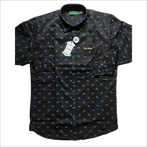 Mens Black Dotted Shirt