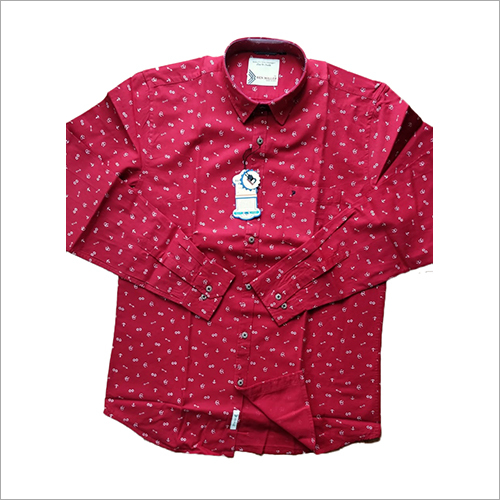 Mens Red Printed Casual Shirt