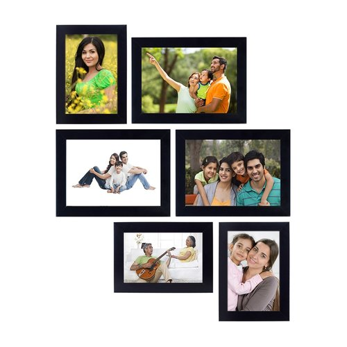 Personalised Wall Hanging Collage Photo Frames with Free Photo Print (Set of 6 pcs - Black) by shilpacharya handicrafts