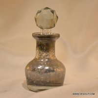 Antique Glass Silver Finish Perfume Bottle