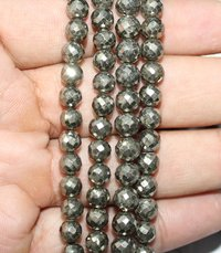 Pyrite Faceted Round Beads