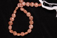 Peach Moonstone Coin Beads