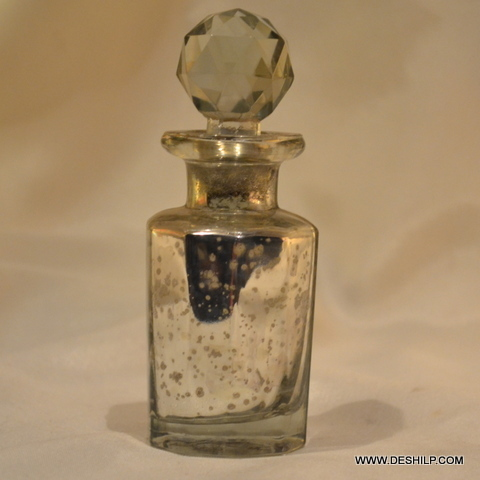 Small Glass Silver Decanter With Stopper