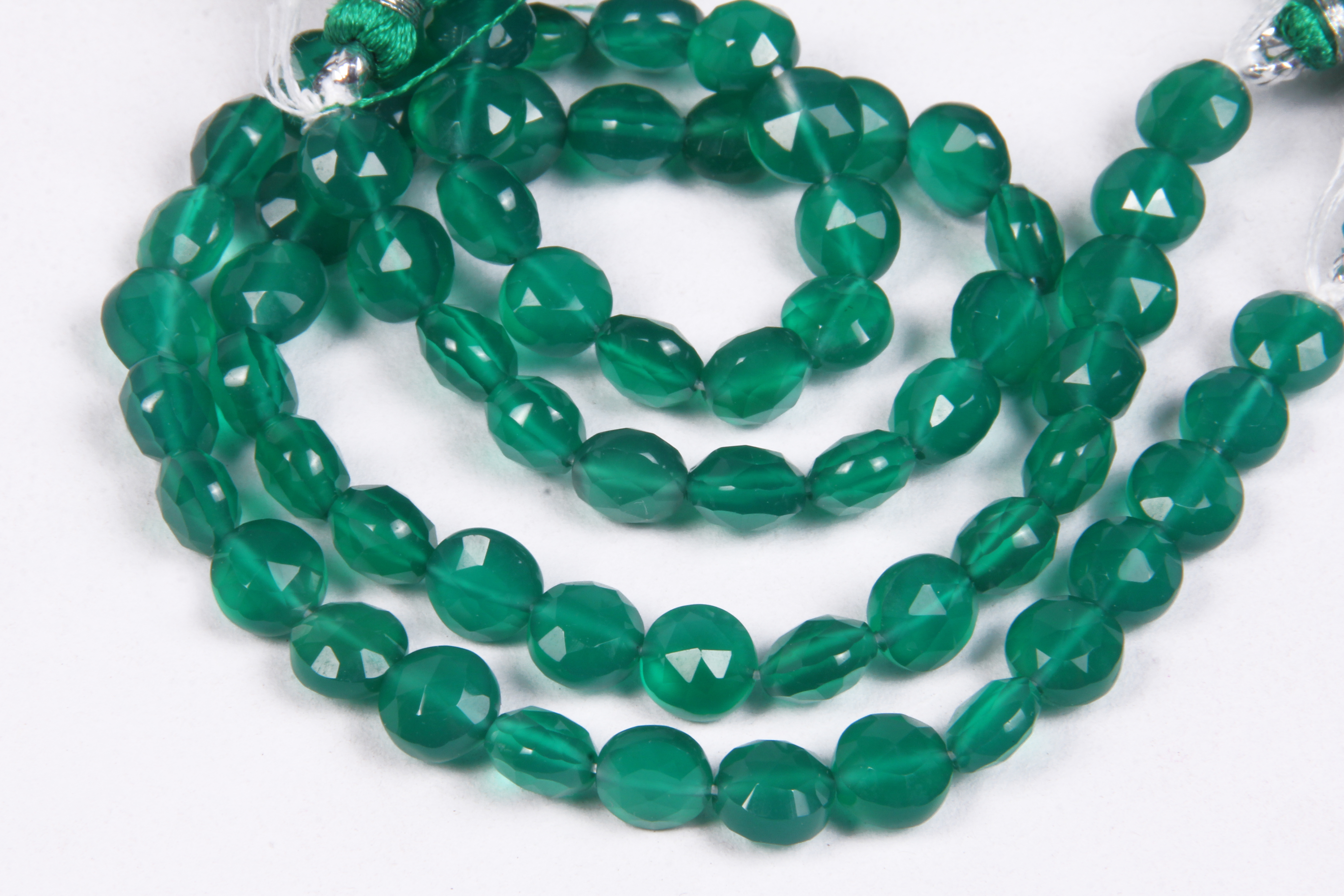 Green Onyx Coin Beads