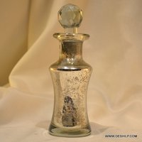 SILVER GLASS PERFUME BOTTLE & DECANTER