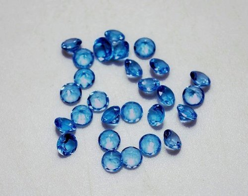 3mm Natural Swiss Blue Topaz Faceted Round Loose Gemstone