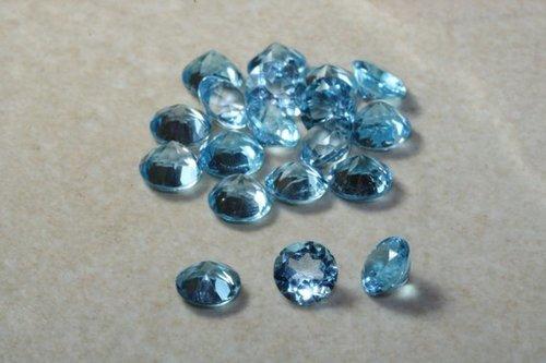 4mm Natural Swiss Blue Topaz Faceted Round Gemstones