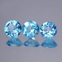 6mm Natural Swiss Blue Topaz Faceted Round Gemstone