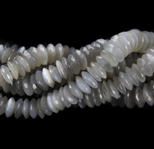 Grey Moonstone German Cut Beads