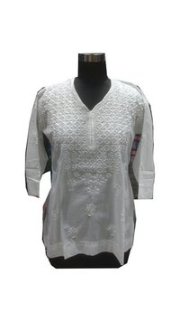 Ladies Cotton Handmade Lucknowi Kurti