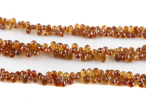 Hessonite Garnet Drops Beads
