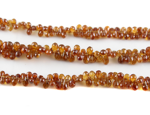 Hessonite Garnet Drops Beads