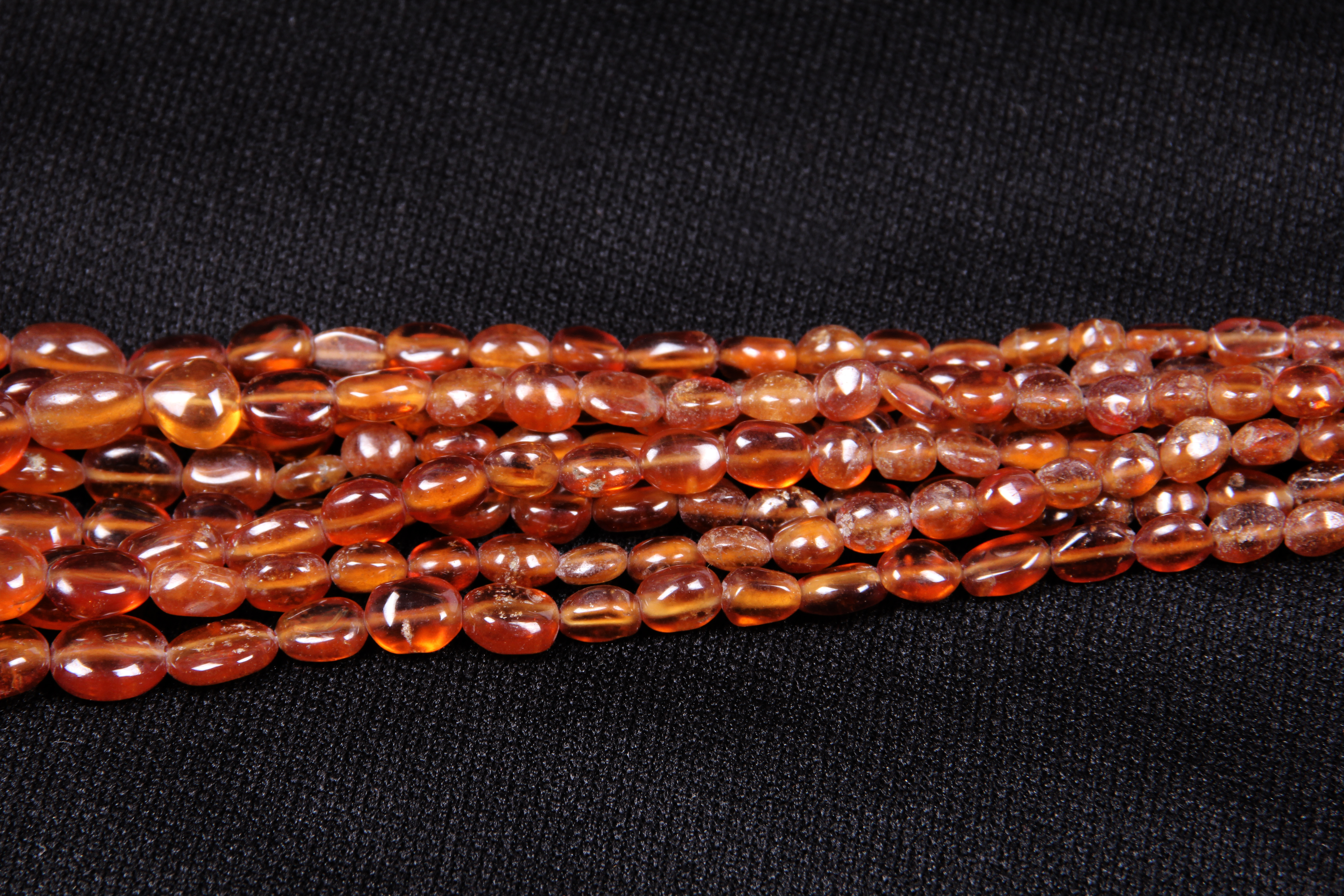 Hessonite Garnet Oval Beads