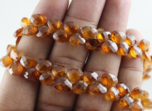 Hessonite Garnet Heart Beads