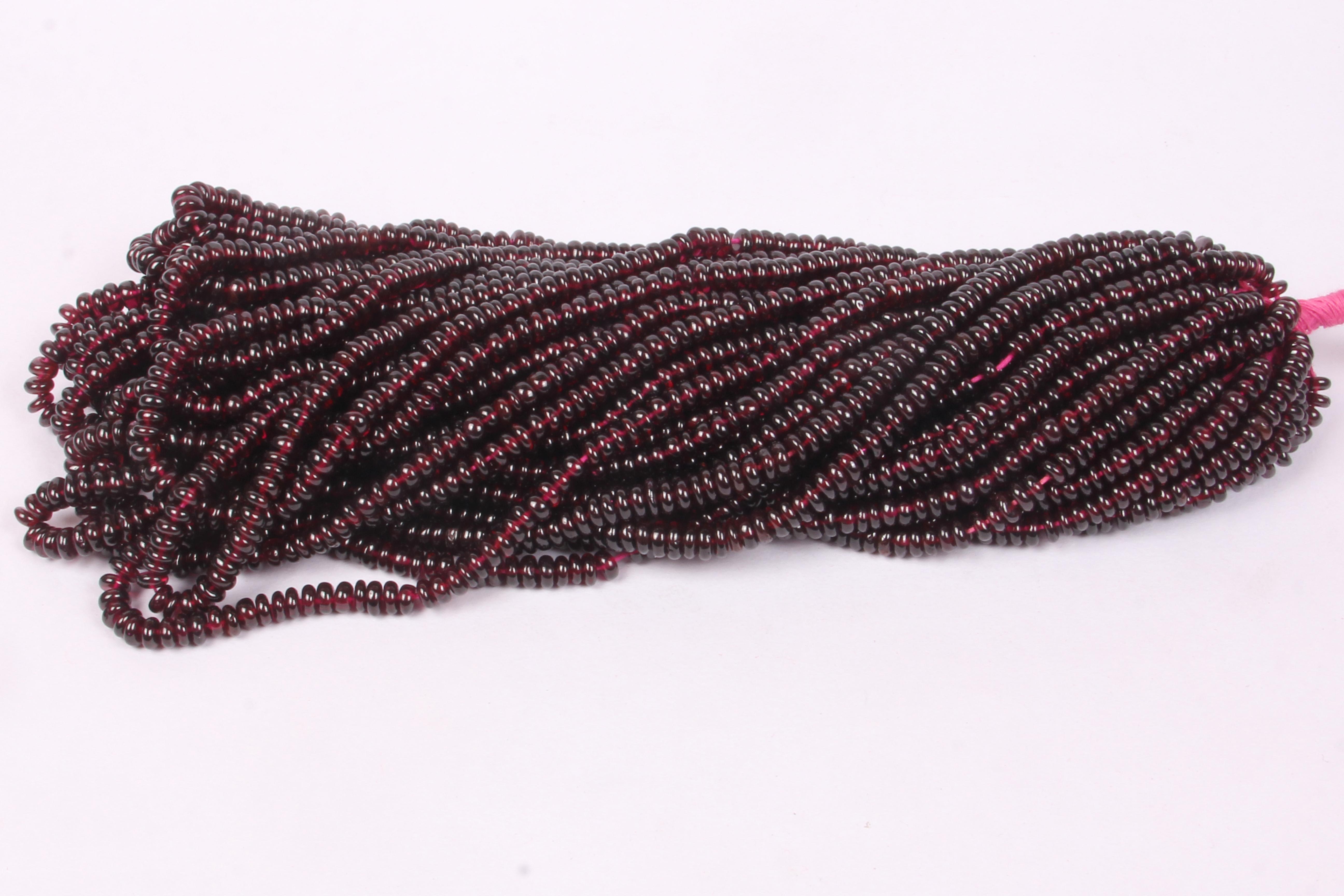 Garnet Plain Roundel Beads