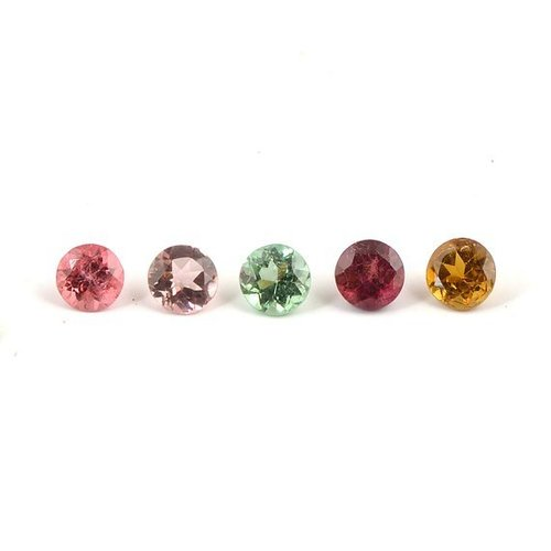 2.25mm Natural Multi Tourmaline Faceted Round Cut Gemstone