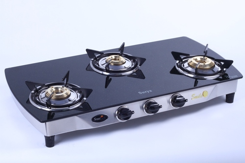 3 BURNER GLASS TOP BLACK