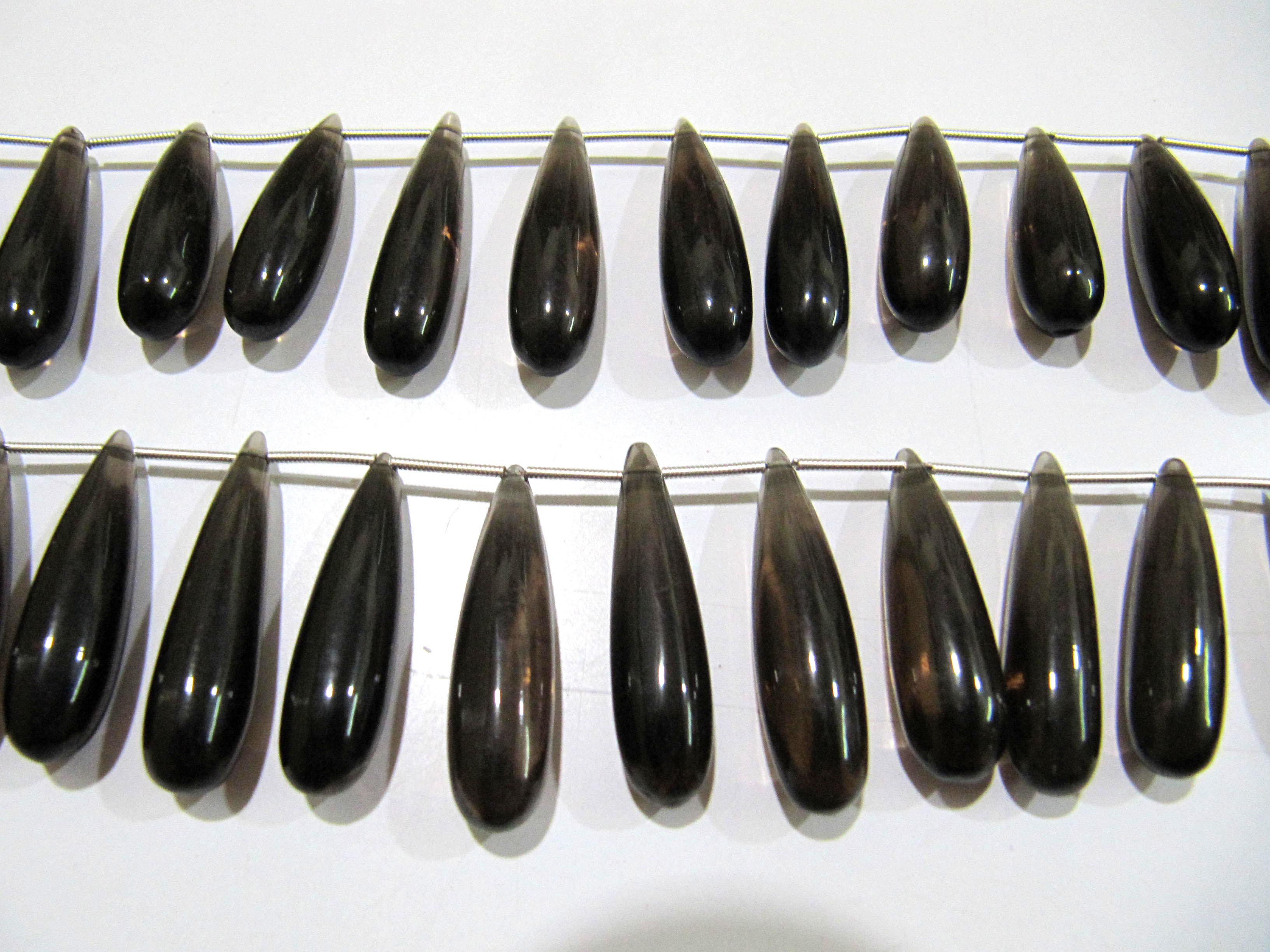 Natural Smoky Quartz Long Tear Drop Plain Smooth Beads Size Approximately 1 inch