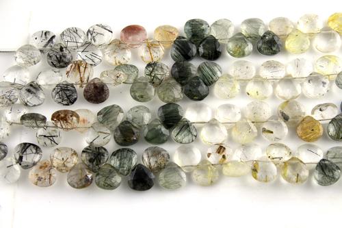 Rutile Quartz Heart Beads
