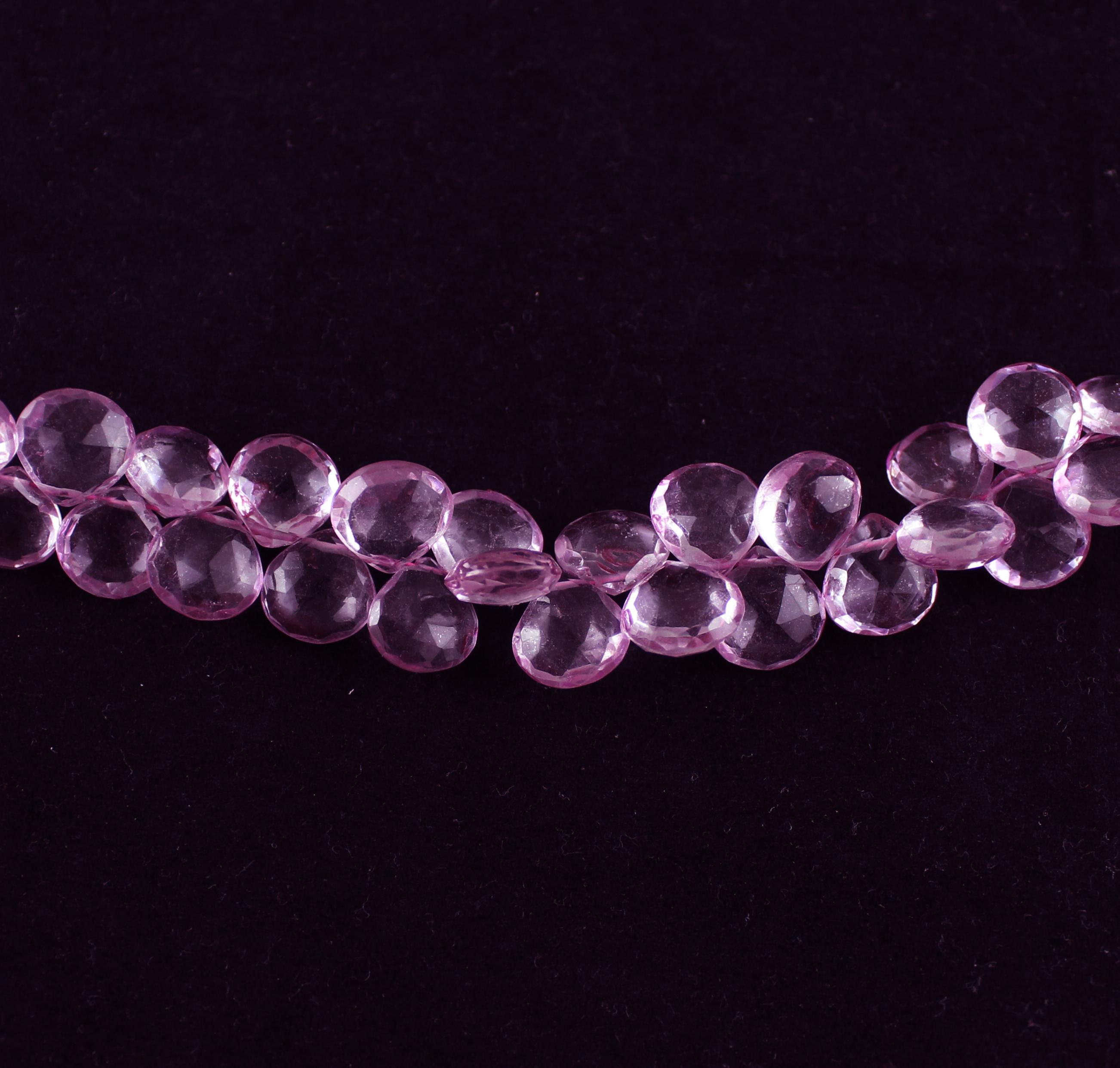 Pink Quartz Heart Beads