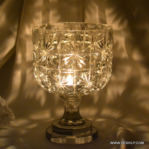 Crystal Cutting Glass Hurricane Candle