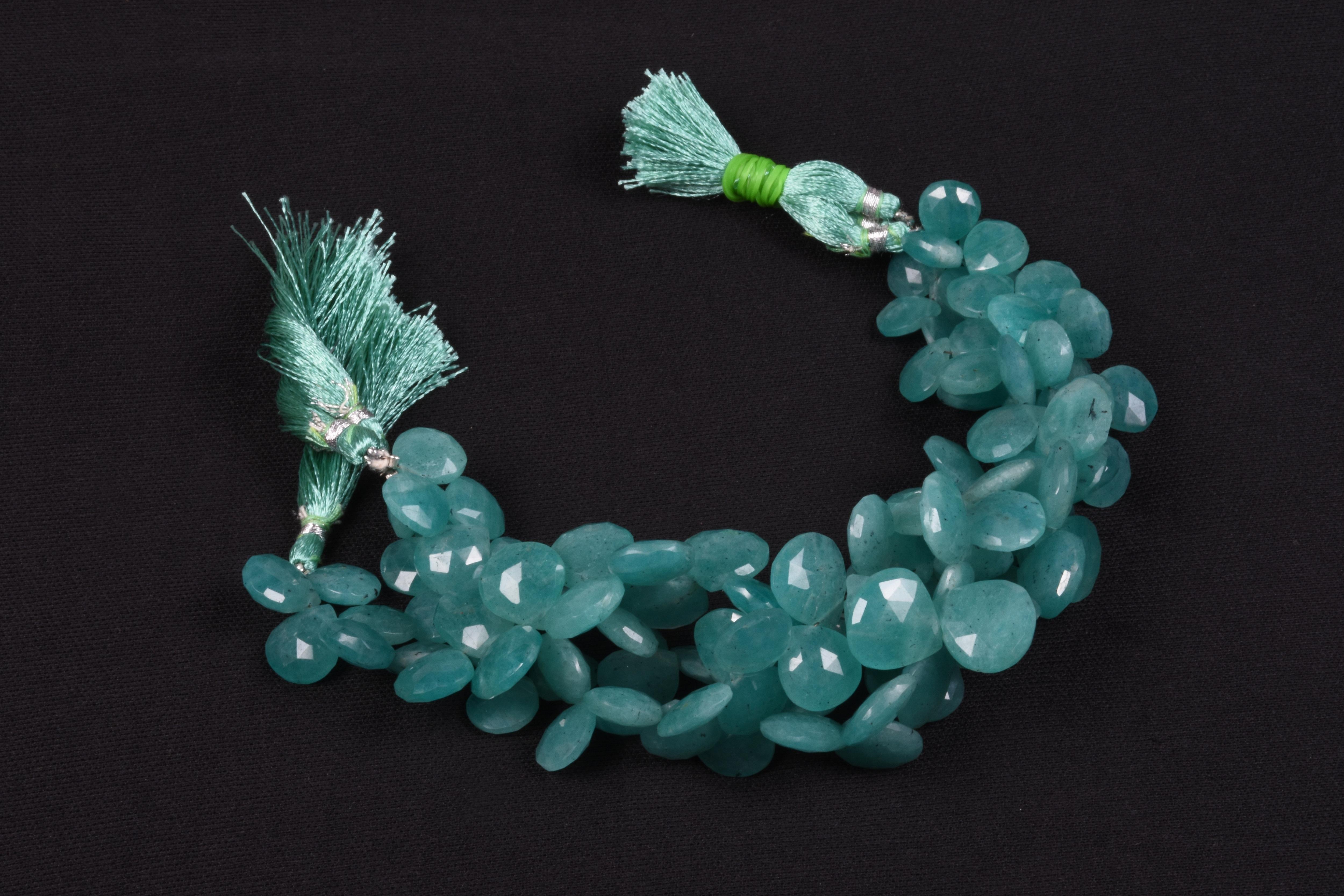 Amazonite Gemstone Heart Beads