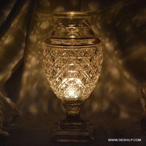 Crystal Glass Hurricane Candle Holder