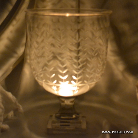 Cutting Glass Hurricane Candle Holder