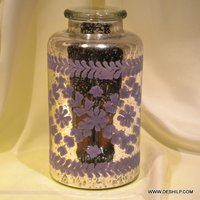 Silver Glass Purple Print Jar & Containers