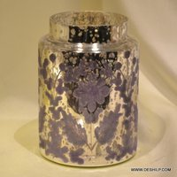 Silver Finish Decor Glass Jar