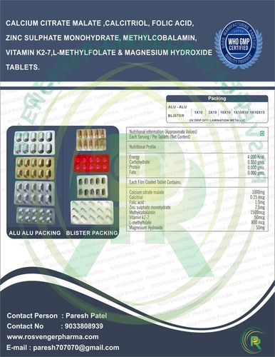 CALCIUM CITRATE MALATE, CALCITRIOL,FOLIC , ZINC,MECOBALAMIN,VITMIN K2-7