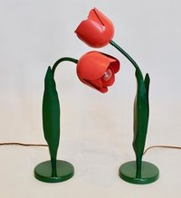 A Pair of Painted Metal Tulip Lamps