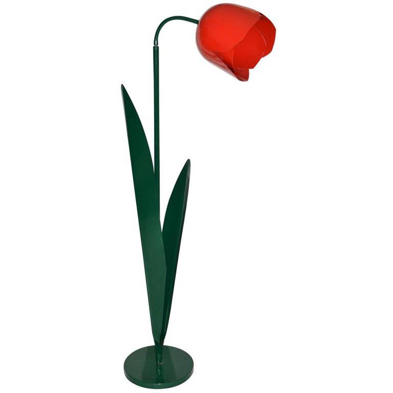 A Pair of Painted Metal Tulip Lamps