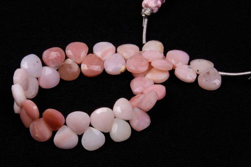 Pink Opal Heart Beads
