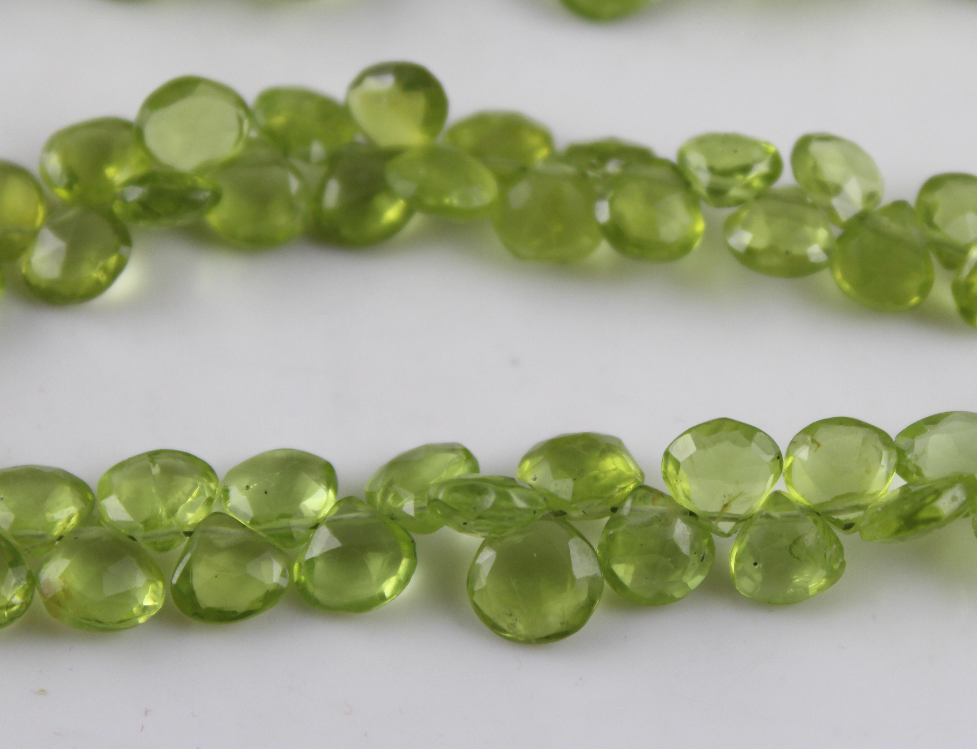 Peridot Heart Beads