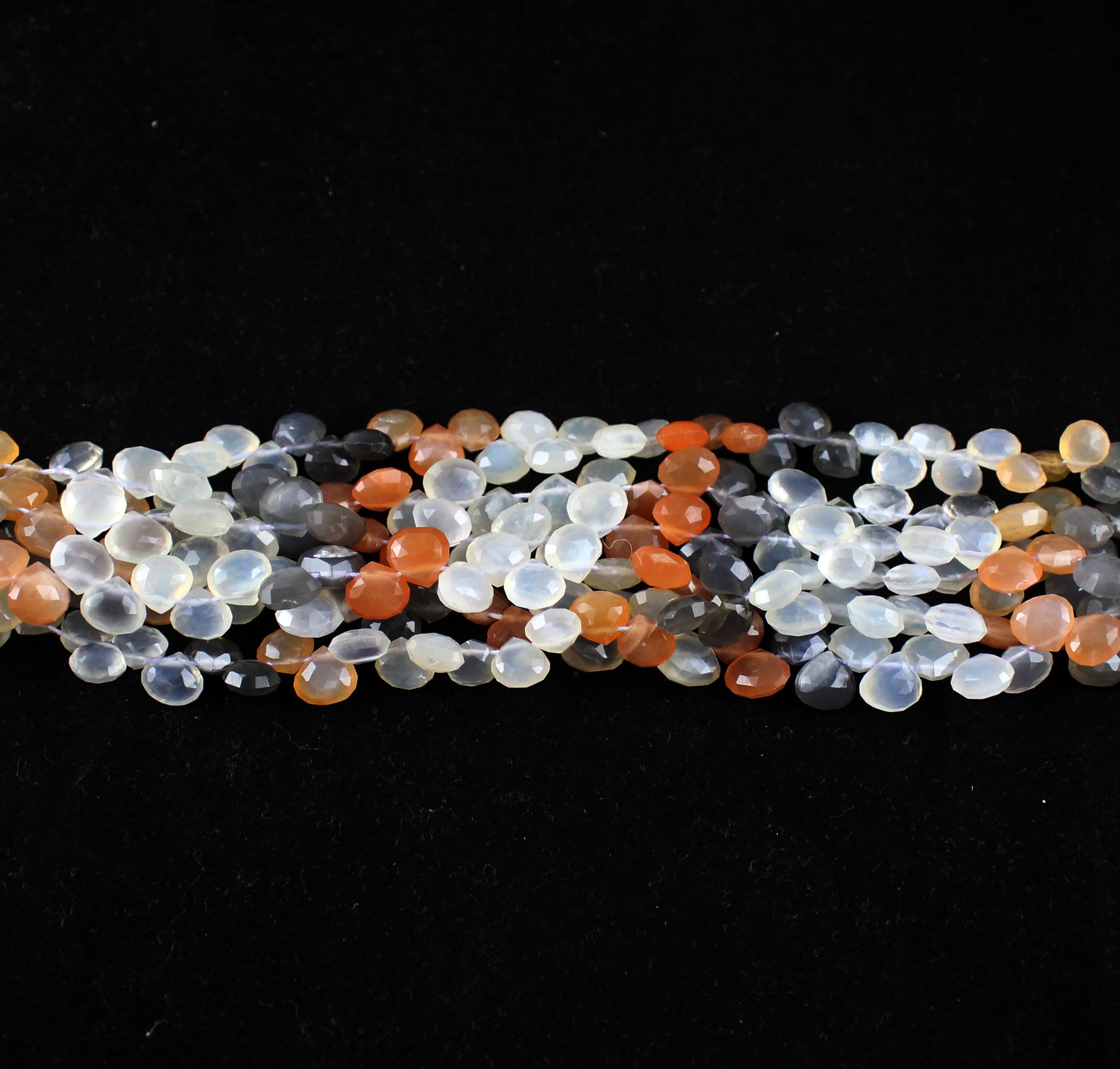 Multi Moonstone Heart Beads