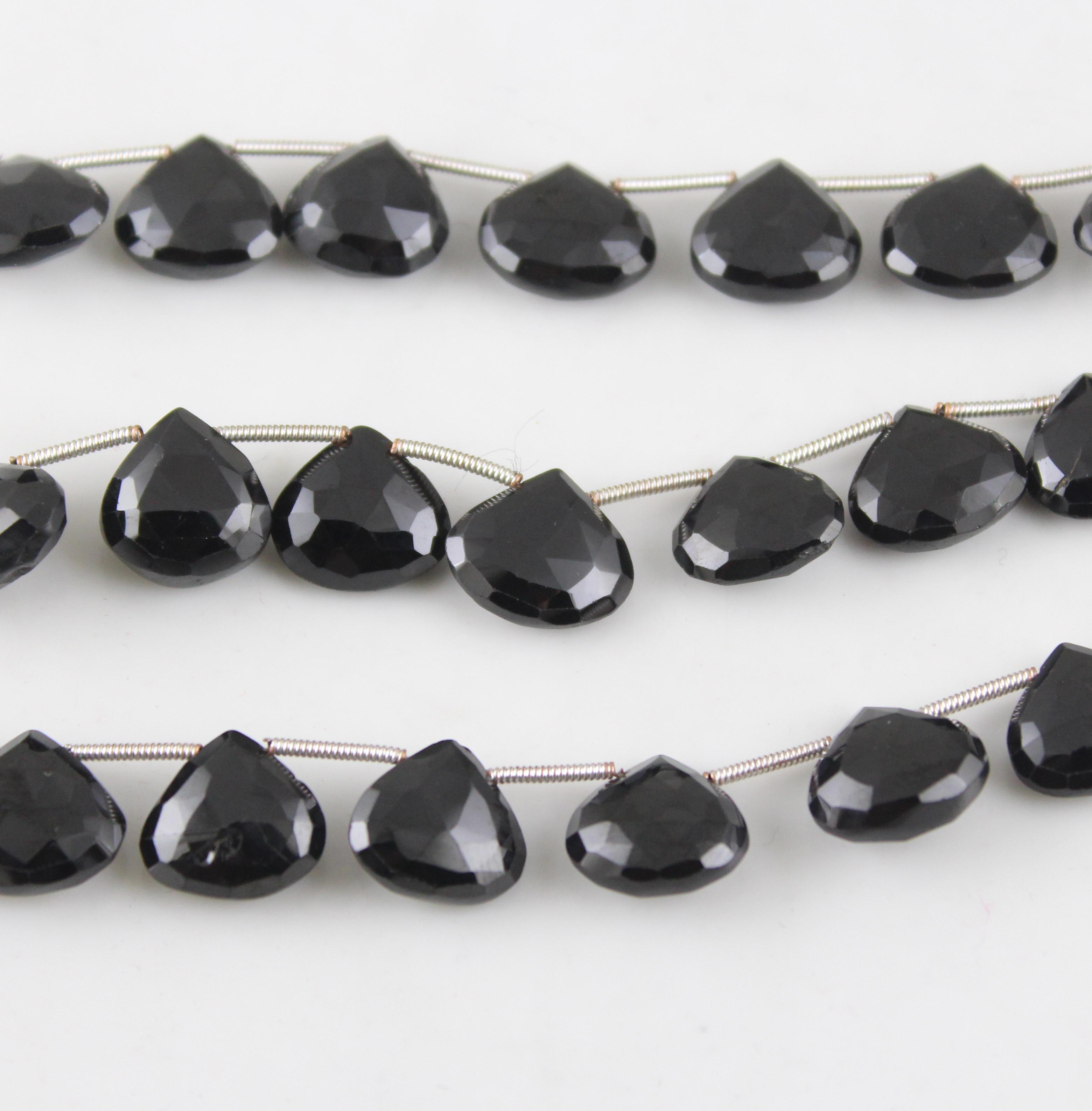 Black Spinel Heart Beads