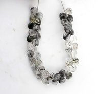 Black Rutile Quartz Heart Beads