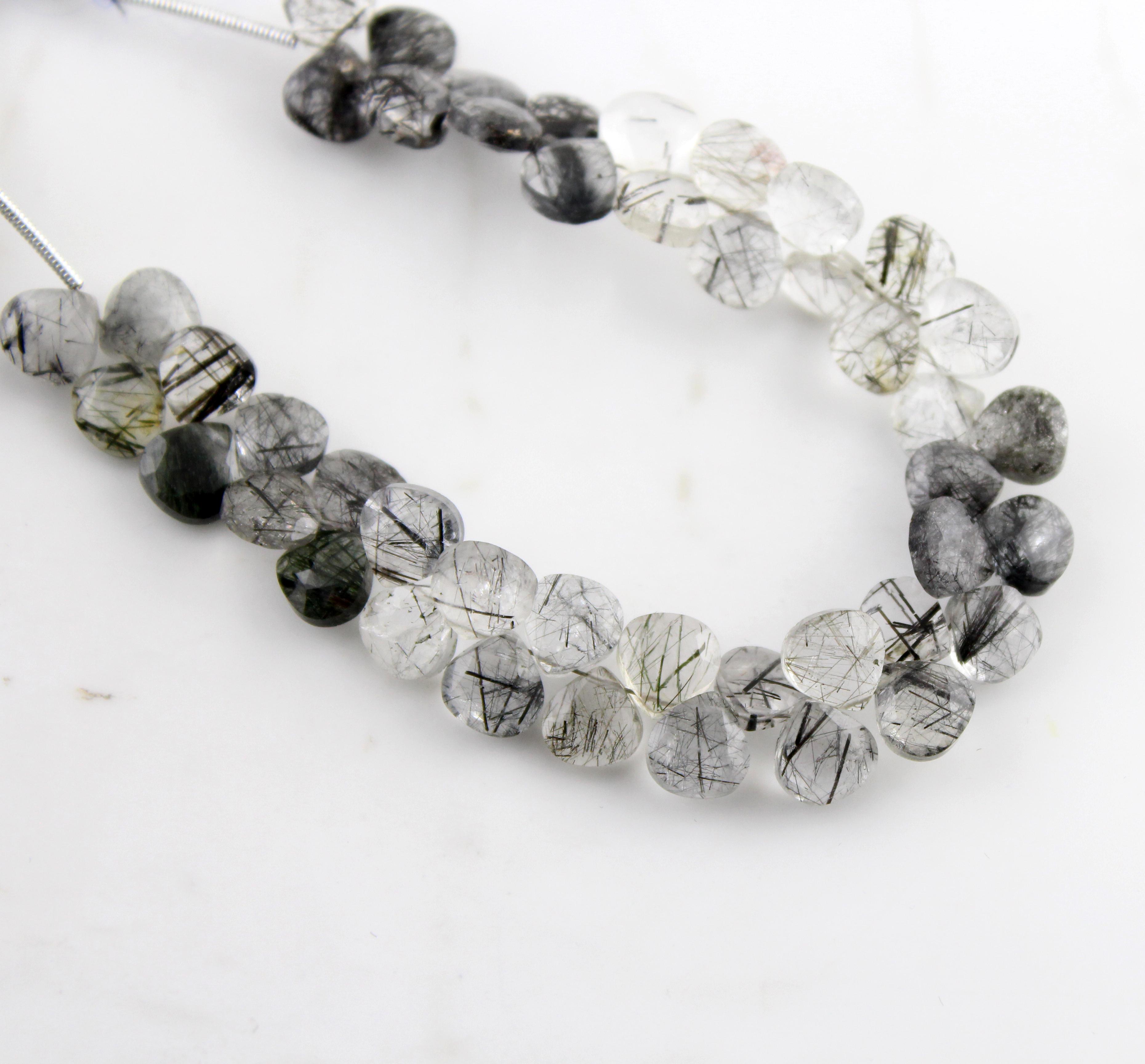 Black Rutile Quartz Heart Beads