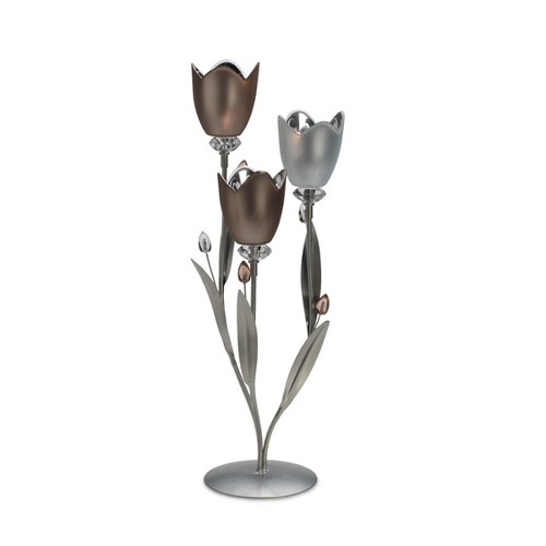 Frosted Glass & Metal Tulip Centerpiece Multi