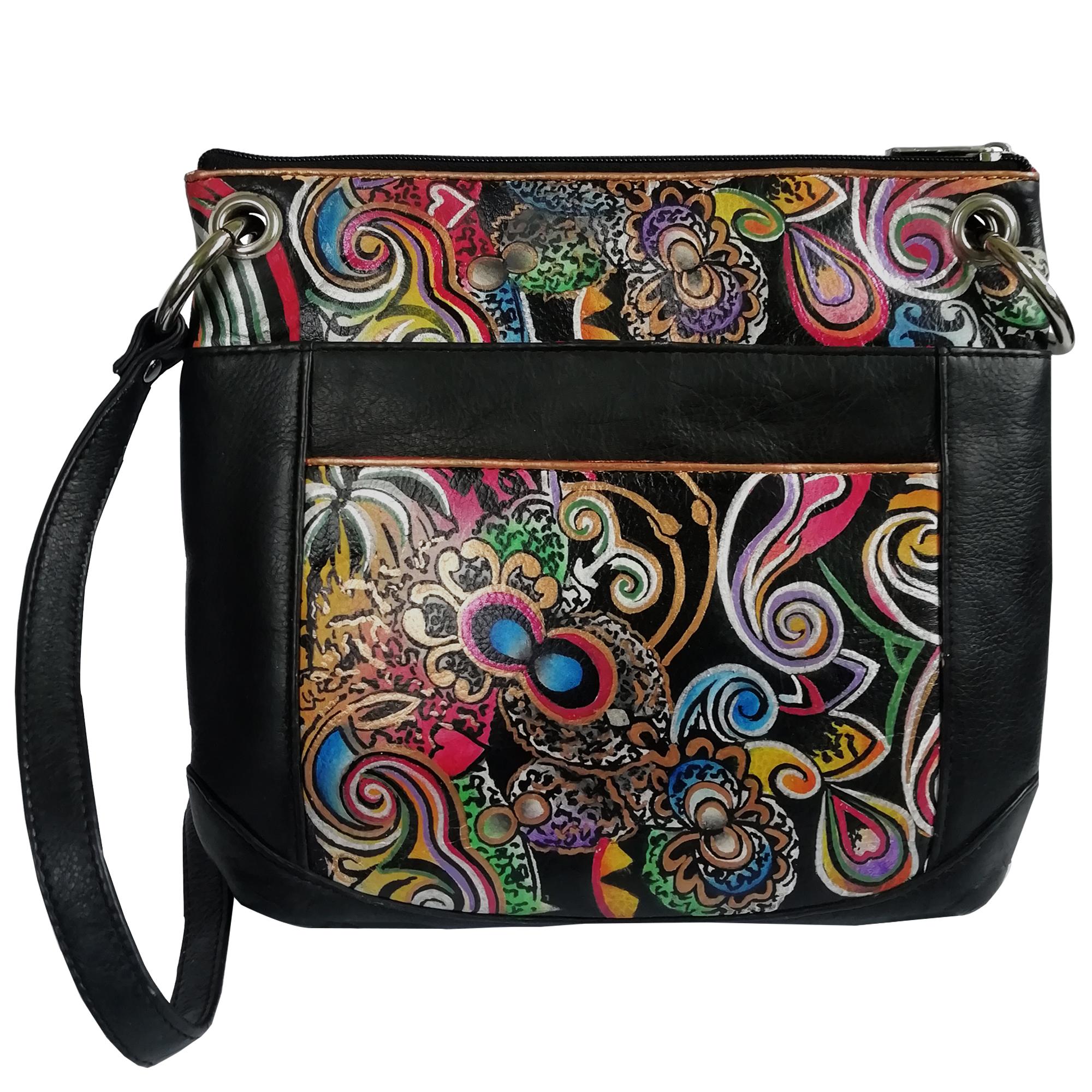Leather Hand Painted Shoulder Bag