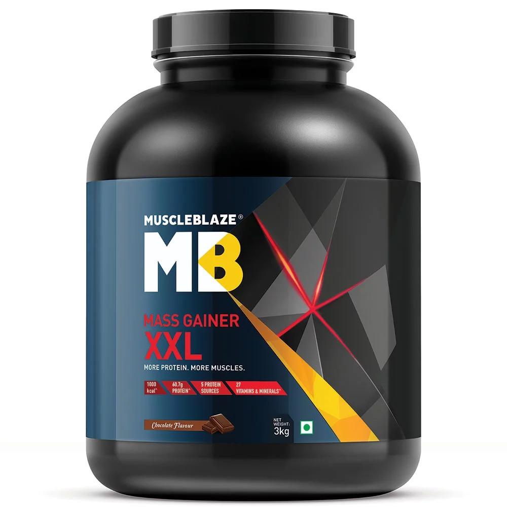 MuscleBlaze Mass Gainer XXL, 6.6 lb(3kg) Chocolate