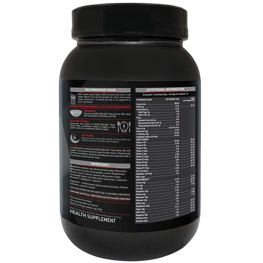 MuscleBlaze Mass Gainer XXL, 2.2 lb (1kg)Cafe Mocha