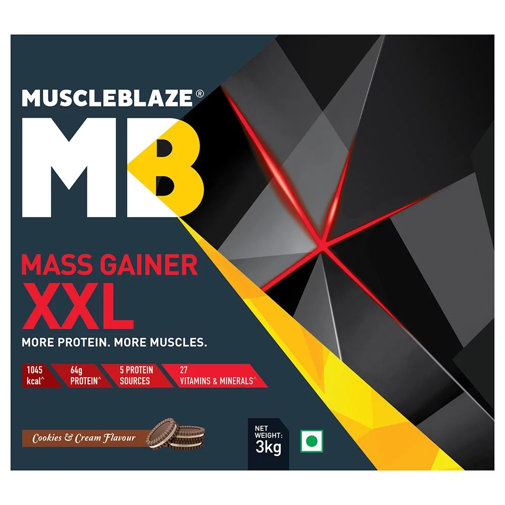 MuscleBlaze Mass Gainer XXL, 6.6 lb(3kg) Cookies & Cream