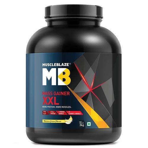 MuscleBlaze Mass Gainer XXL, 6.6 lb(3kg) Banana Cream