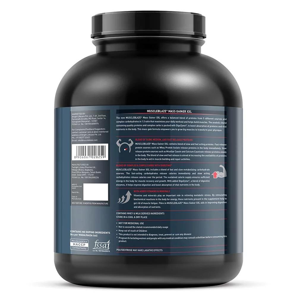 MuscleBlaze Mass Gainer XXL, 6.6 lb(3kg) Choco Peanut