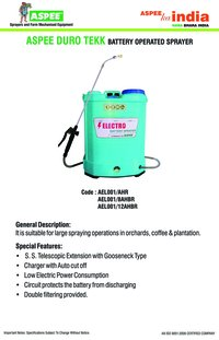 BATTERY OPERATED POWER SPRAYER ( ELECTRO )
