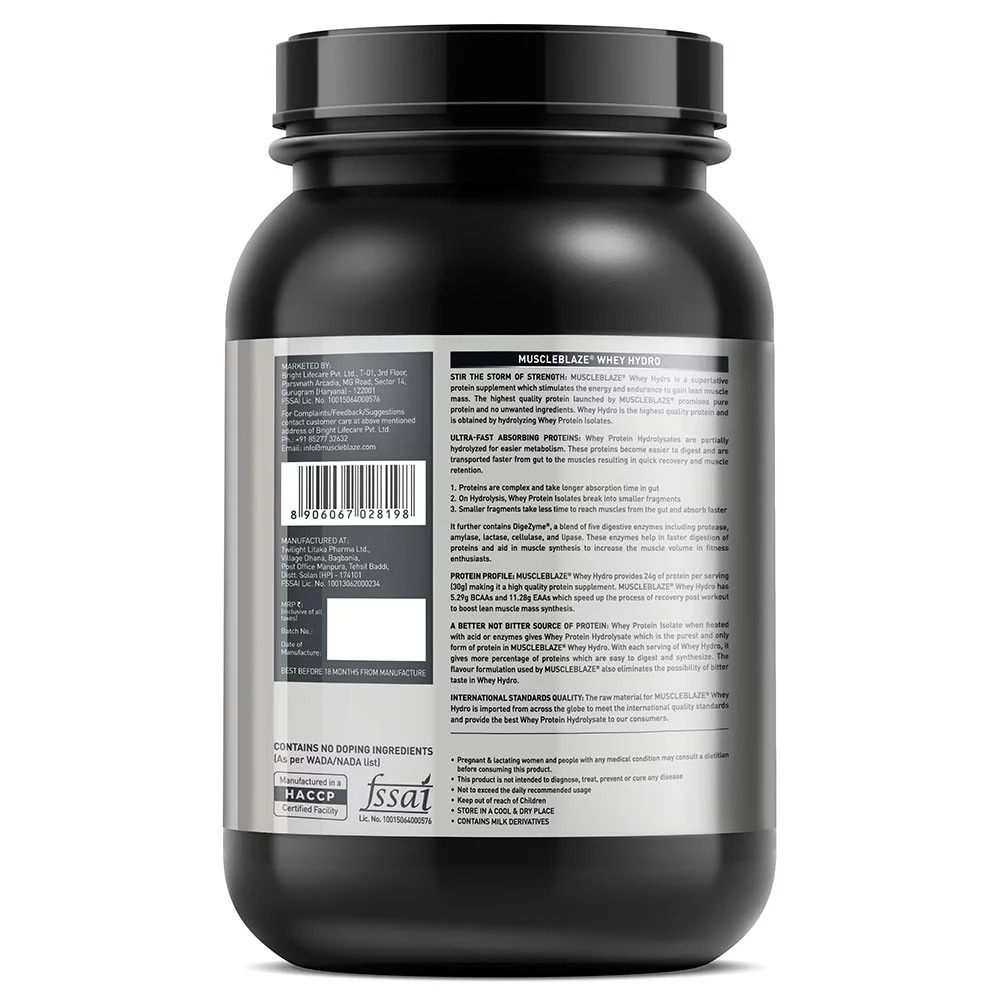 MuscleBlaze Whey Hydro, 2.2 lb(1kg) French Vanilla
