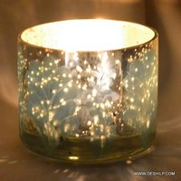 Round Glass Blue Silver Candle Votive