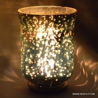 Beautiful Silver Glass T Light Candle Holder